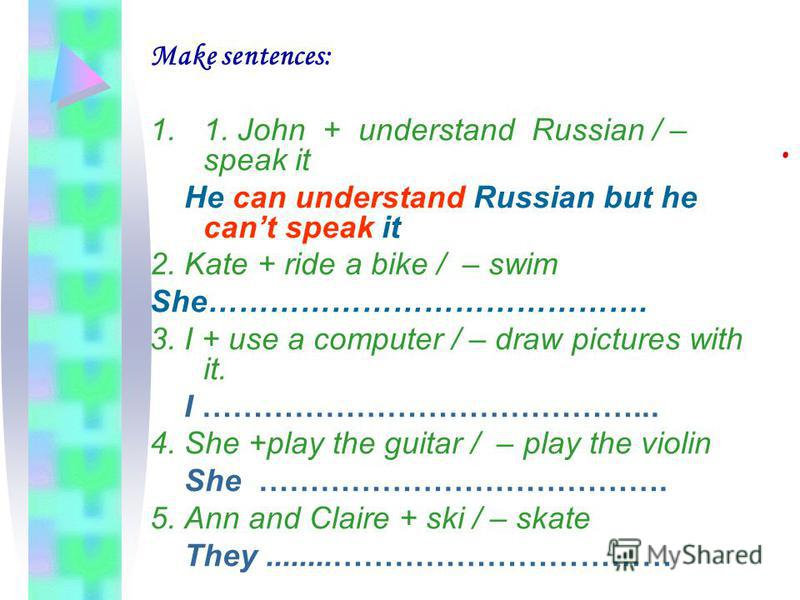 . Make sentences: 1.1. John + understand Russian / – speak it He can understand Russian but he cant speak it 2. Kate + ride a bike / – swim She……………………………………. 3. I + use a computer / – draw pictures with it. I ……………………………………... 4. She +play the guita