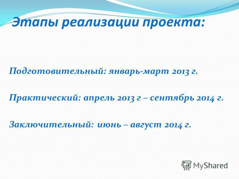 Этапы реализации проекта: Подготовительный: январь-март 2013 г. Практический: апрель 2013 г – сентябрь 2014 г. Заключительный: июнь – август 2014 г.