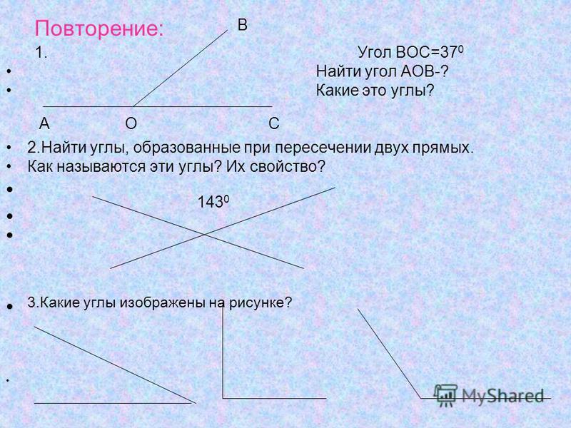 1. Угол ВОС=37 0 Найти угол АОВ-? Какие это углы? 2. Найти углы, образованные при пересечении двух прямых. Как называются эти углы? Их свойство? 3. Какие углы изображены на рисунке? Повторение: O B CA 143 0