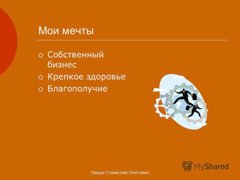 Лащук Станислав Олегович Мои мечты Собственный бизнес Крепкое здоровье Благополучие