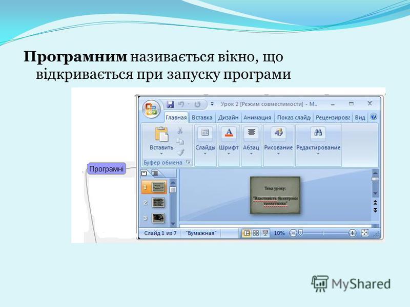 Програмним називається вікно, що відкривається при запуску програми