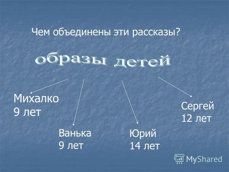 Чем объединены эти рассказы? Михалко 9 лет Ванька 9 лет Юрий 14 лет Сергей 12 лет