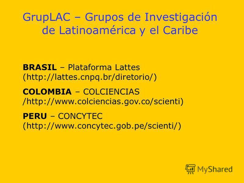 GrupLAC – Grupos de Investigación de Latinoamérica y el Caribe BRASIL – Plataforma Lattes (http://lattes.cnpq.br/diretorio/) COLOMBIA – COLCIENCIAS /http://www.colciencias.gov.co/scienti) PERU – CONCYTEC (http://www.concytec.gob.pe/scienti/)