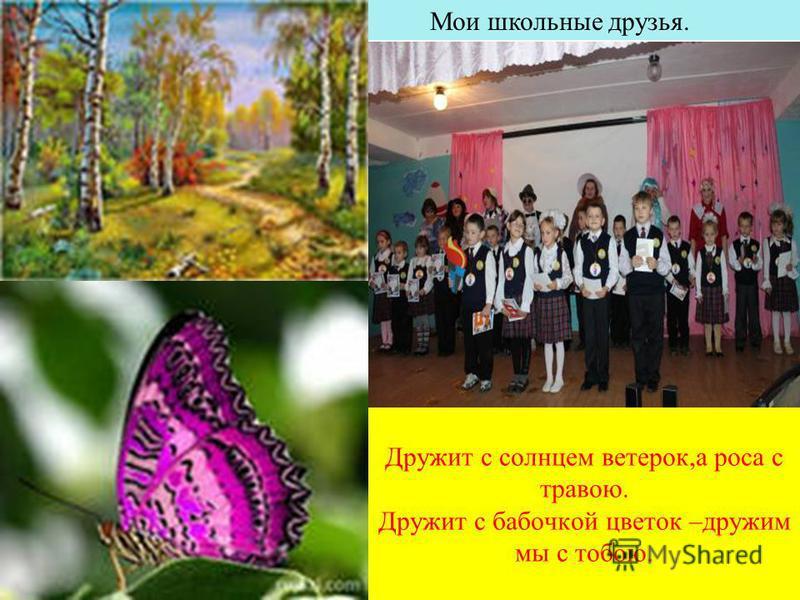 Дружит с солнцем ветерок,а роса с травою. Дружит с бабочкой цветок –дружим мы с тобою. Мои школьные друзья.