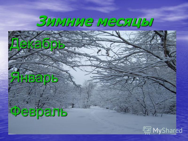 Зимние месяцы Декабрь ЯнварьФевраль