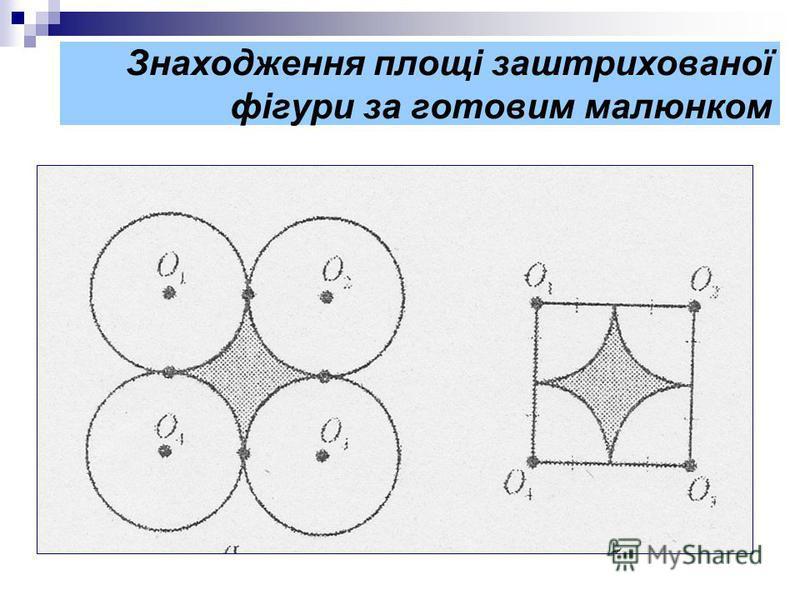 Знаходження площі заштрихованої фігури за готовим малюнком