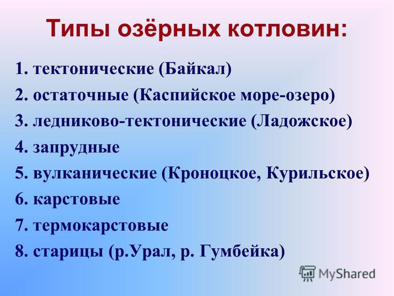 Типы озёрных котловин: 1. тектонические (Байкал) 2. остаточные (Каспийское море-озеро) 3. ледниково-тектонические (Ладожское) 4. запрудные 5. вулканические (Кроноцкое, Курильское) 6. карстовые 7. термокарстовые 8. старицы (р.Урал, р. Гумбейка)