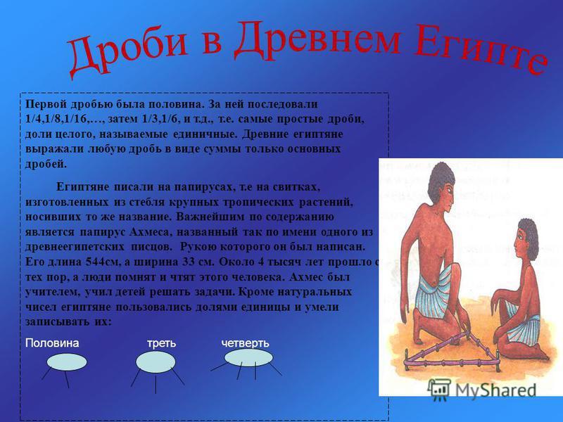 Первой дробью была половина. За ней последовали 1/4,1/8,1/16,…, затем 1/3,1/6, и т.д., т.е. самые простые дроби, доли целого, называемые единичные. Древние египтяне выражали любую дробь в виде суммы только основных дробей. Египтяне писали на папируса