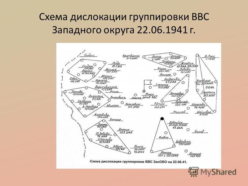 Схема дислокации группировки ВВС Западного округа 22.06.1941 г.