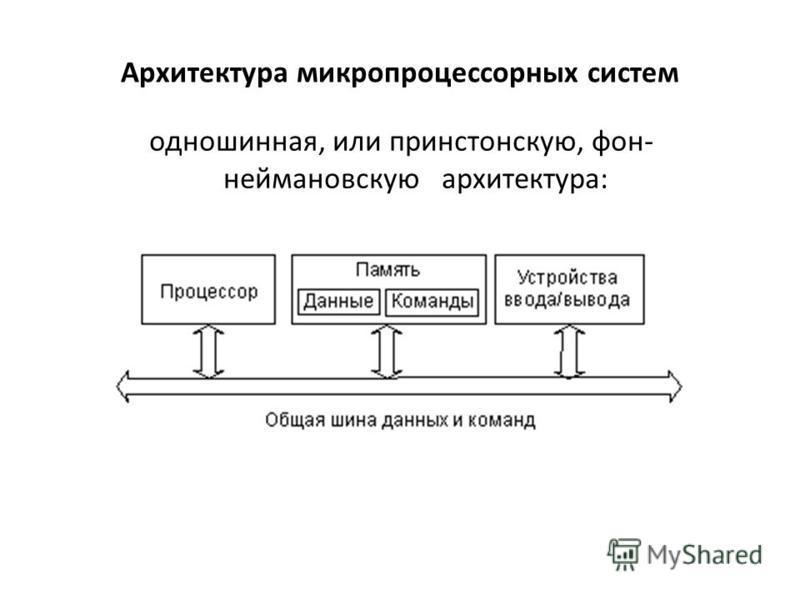 Архитектура микропроцессорных систем одношинная, или принстонскую, фон- неймановскую архитектура: