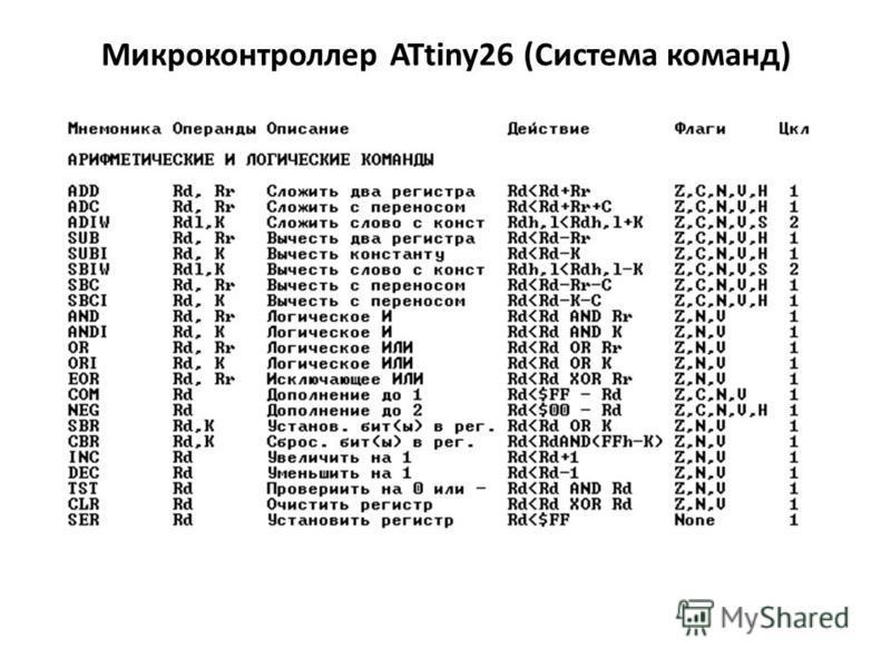 Микроконтроллер ATtiny26 (Система команд)