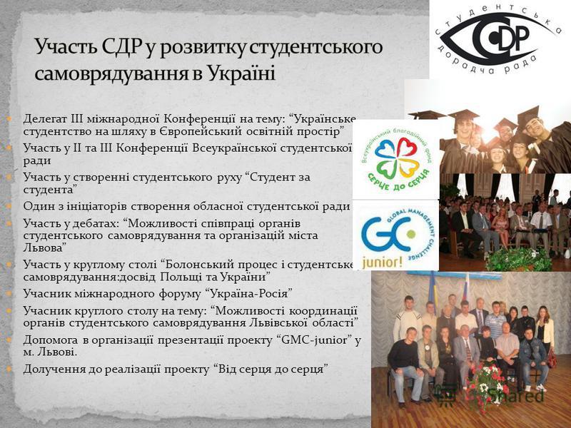Делегат III міжнародної Конференції на тему: Українське студентство на шляху в Європейський освітній простір Участь у II та III Конференції Всеукраїнської студентської ради Участь у створенні студентського руху Студент за студента Один з ініціаторів