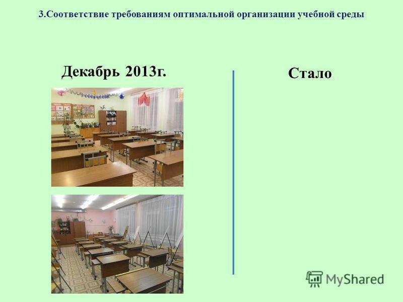 3. Соответствие требованиям оптимальной организации учебной среды Декабрь 2013 г. Стало
