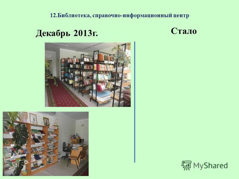12.Библиотека, справочно-информационный центр Декабрь 2013 г. Стало