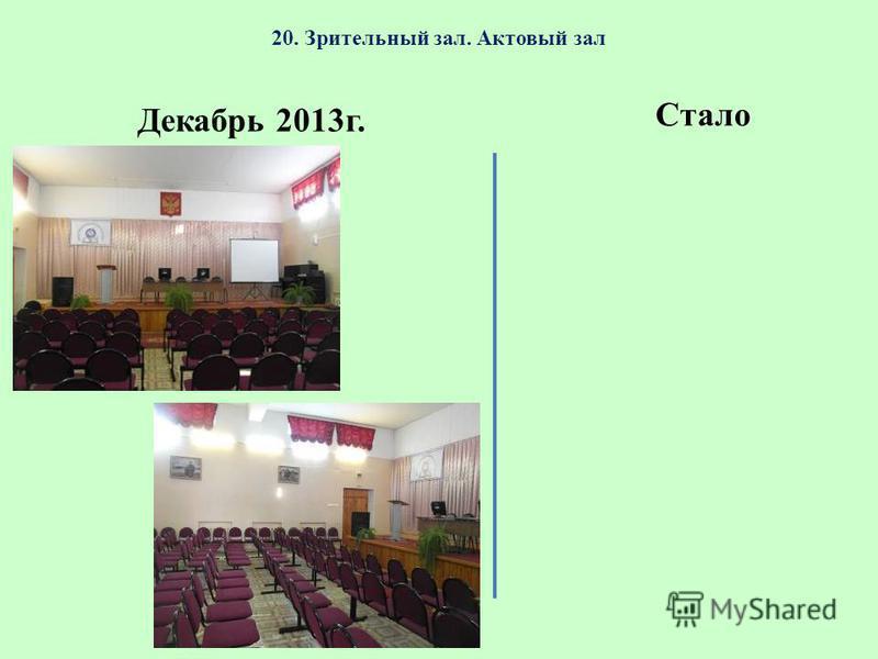 20. Зрительный зал. Актовый зал Декабрь 2013 г. Стало