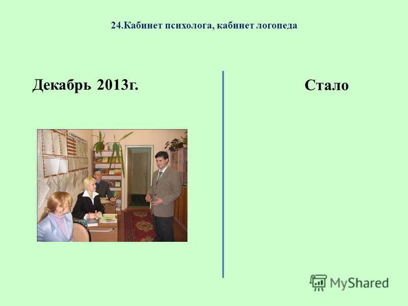 24. Кабинет психолога, кабинет логопеда Декабрь 2013 г. Стало
