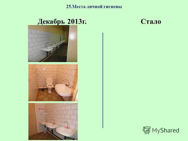 25. Места личной гигиены Декабрь 2013 г.Стало