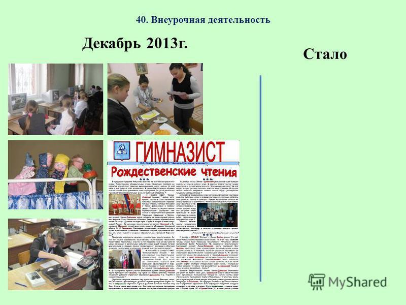 40. Внеурочная деятельность Декабрь 2013 г. Стало