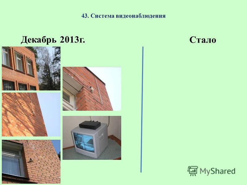 43. Система видеонаблюдения Декабрь 2013 г. Стало