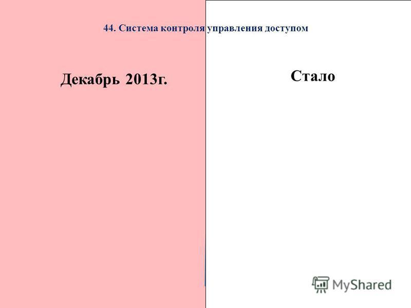 Декабрь 2013 г.Стало 44. Система контроля управления доступом Стало