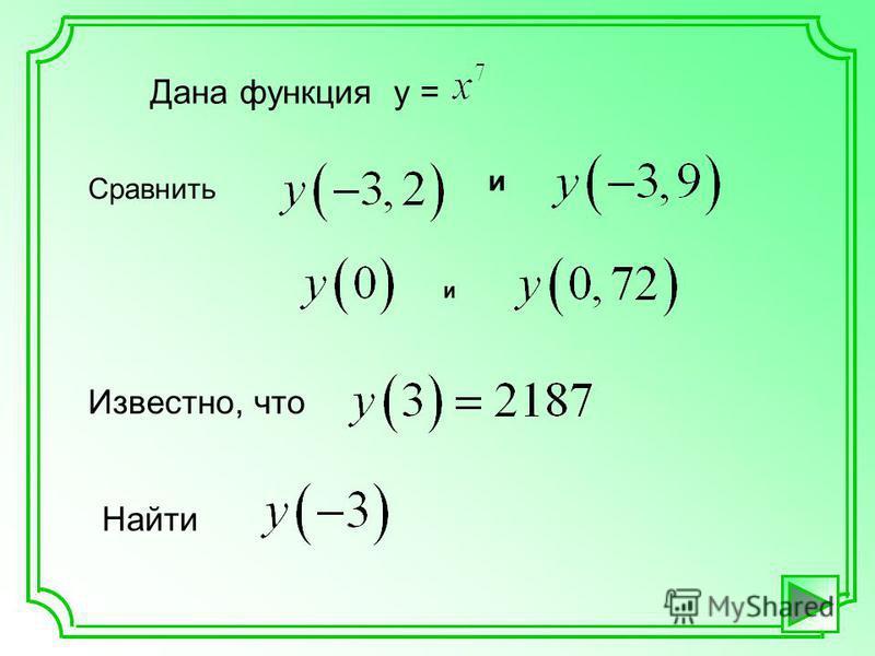 Дана функция у = Сравнить и и Известно, что Найти