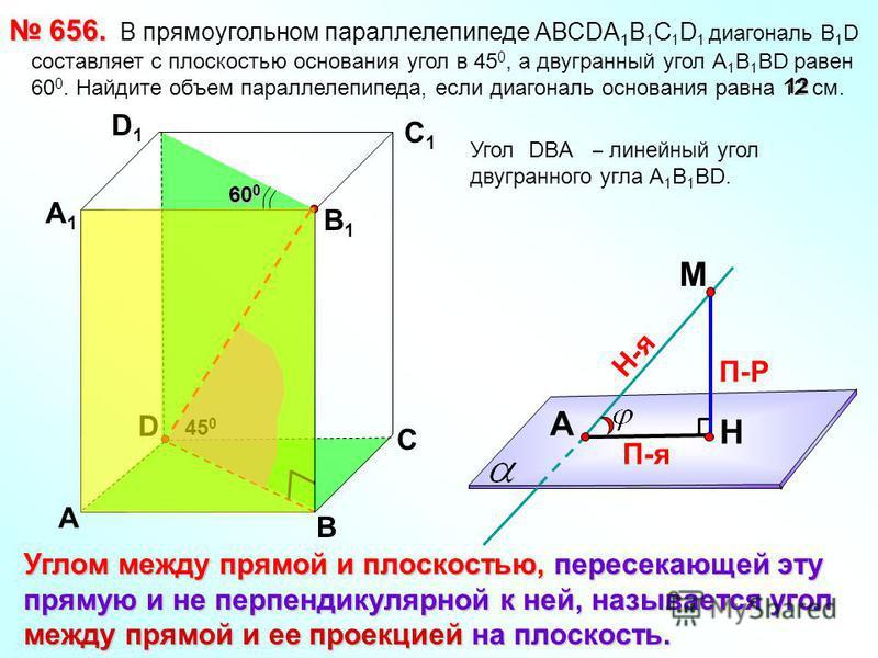 В прямоугольном параллелепипеде АВСDА 1 В 1 С 1 D 1 диагональ B 1 D составляет с плоскостью основания угол в 45 0, а двугранный угол А 1 В 1 ВD равен 60 0. Найдите объем параллелепипеда, если диагональ основания равна 12 см. 656. 656. D А B С А1А1 D1
