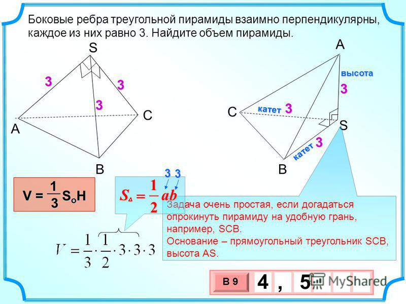 3 х 1 0 х В 9 4, 5 Боковые ребра треугольной пирамиды взаимно перпендикулярны, каждое из них равно 3. Найдите объем пирамиды. A В С S A S B C V = S o H 13 33 3 333 Задача очень простая, если догадаться опрокинуть пирамиду на удобную грань, например,