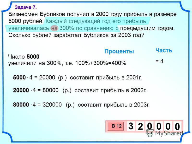 Бизнесмен Бубликов получил в 2000 году прибыль в размере 5000 рублей. Каждый следующий год его прибыль увеличивалась на 300% по сравнению с предыдущим годом. Сколько рублей заработал Бубликов за 2003 год? 3 х 1 0 х В 12 0 0 0 3 2 0 Задача 7. увеличил