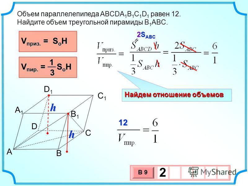 Найдем отношение объемов Объем параллелепипеда ABCDA 1 B 1 C 1 D 1 равен 12. Найдите объем треугольной пирамиды B 1 ABC. V пир. = S o H 13 A B C D B1B1 C1C1 D1D1 A1A1 V приз. = S o H h h 12 12 3 х 1 0 х В 9 2 2S ABC =