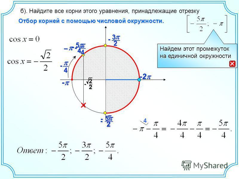 25 - -2 -2 - - б). Найдите все корни этого уравнения, принадлежащие отрезку Найдем этот промежуток на единичной окружности 2- 23 - Отбор корней с помощью числовой окружности. 2 2 - 4 - – 4- 4 45 -