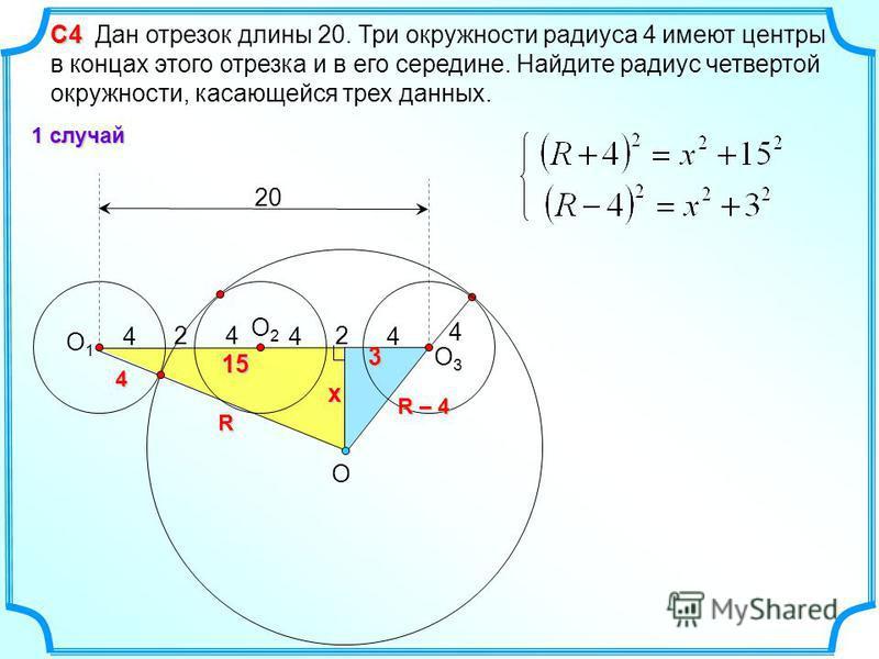 4 4 O2O2 O1O1 С4 С4 Дан отрезок длины 20. Три окружности радиуса 4 имеют центры в концах этого отрезка и в его середине. Найдите радиус четвертой окружности, касающейся трех данных. 4 20 22R 4 O 4 4 O3O3 R – 4 3x 15 1 случай
