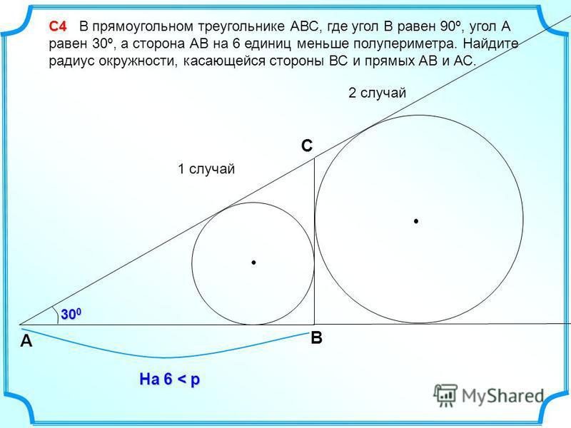 С4 С4 В прямоугольном треугольнике АВС, где угол В равен 90º, угол А равен 30º, а сторона АВ на 6 единиц меньше полупериметра. Найдите радиус окружности, касающейся стороны ВС и прямых АВ и АС. 1 случай 2 случай B А C На 6 < p 30 0