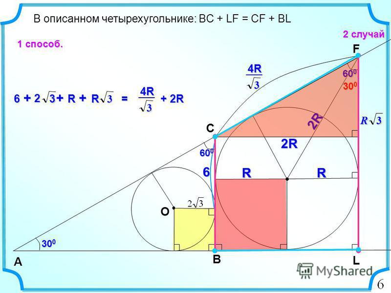 6 В описанном четырехугольнике: BC + LF = CF + BL 2 случай B А C 30 0 L O RRRRR 60 0 F 30 0 2R 3R 2R 3 4R4R4R4R R 6 + + R + 3 2 3R 3 4R4R4R4R + 2R = 1 способ.