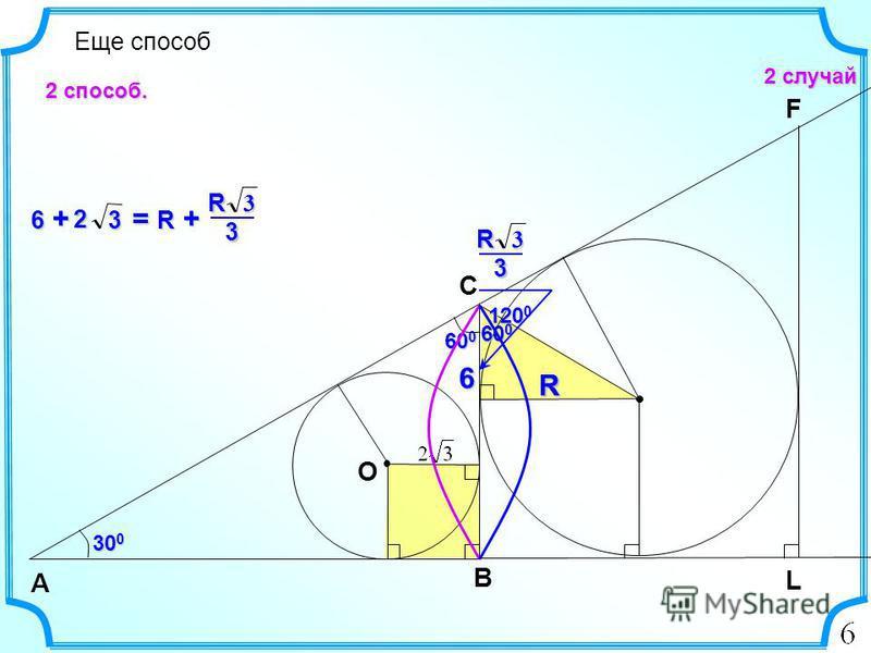 6 Еще способ 2 случай B А C 30 0 L O 60 0 F 6 +6 +6 +6 +3 2 RRR 120 0 600600600600 3R 3 3R 3 = R += R += R += R + 2 способ.