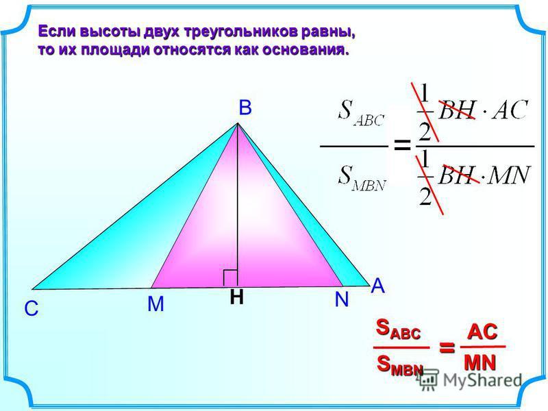 М N А В С Если высоты двух треугольников равны, то их площади относятся как основания. H S MBN S ABC = MN AC =