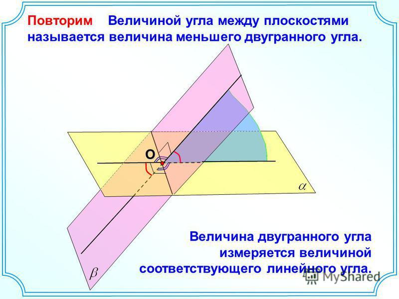 Повторим Величиной угла между плоскостями называется величина меньшего двугранного угла.О Величина двугранного угла измеряется величиной соответствующего линейного угла.
