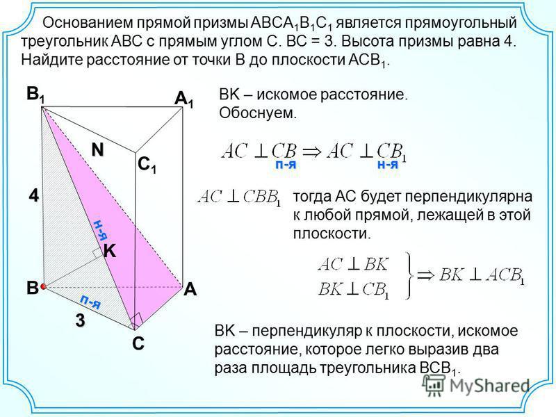 В С А В1В1 А1А1 С1С1 Основанием прямой призмы ABCA 1 B 1 C 1 является прямоугольный треугольник АВС с прямым углом С. ВС = 3. Высота призмы равна 4. Найдите расстояние от точки В до плоскости АСВ 1. 3 N 4 BK – искомое расстояние. Обоснуем. п-я н-я K