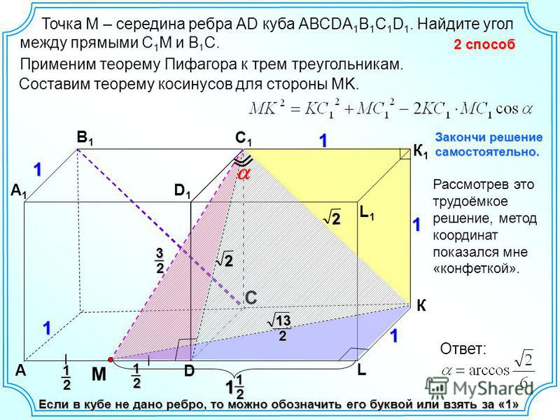 11 A D C A1A1 B1B1 C1C1 D1D1 Если в кубе не дано ребро, то можно обозначить его буквой или взять за «1» Рассмотрев это трудоёмкое решение, метод координат показался мне «конфеткой». 2 способ Точка M – середина ребра АD куба АВСDA 1 B 1 C 1 D 1. Найди