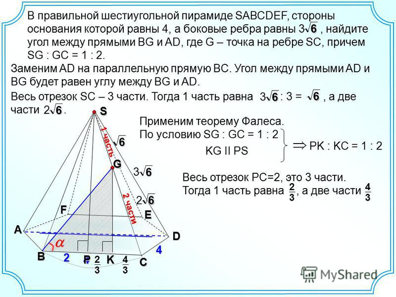 В правильной шестиугольной пирамиде SАВСDEF, стороны основания которой равны 4, а боковые ребра равны 3, найдите угол между прямыми BG и AD, где G – точка на ребре SC, причем SG : GC = 1 : 2. B C D E F A S 464 6 3 G2 P 2 части 1 часть 6 2 Заменим AD