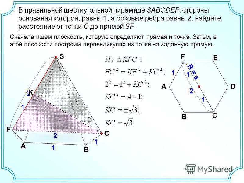 2 В правильной шестиугольной пирамиде SABCDEF, стороны основания которой, равны 1, а боковые ребра равны 2, найдите расстояние от точки C до прямой SF. A B C D E F 1 2 S 1 Сначала ищем плоскость, которую определяют прямая и точка. Затем, в этой плоск