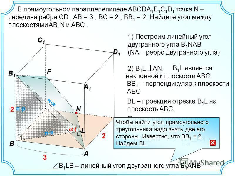 С B 1 L является наклонной к плоскости ABC. D A D1D1D1D1 C1C1C1C1 В B1B1B1B1 2 н-я п-р A1A1A1A1 3 2 NF 1) Построим линейный угол двугранного угла B 1 NAB (NA – ребро двугранного угла) 2) B 1 L AN, BB 1 – перпендикуляр к плоскости ABC BL – проекция от