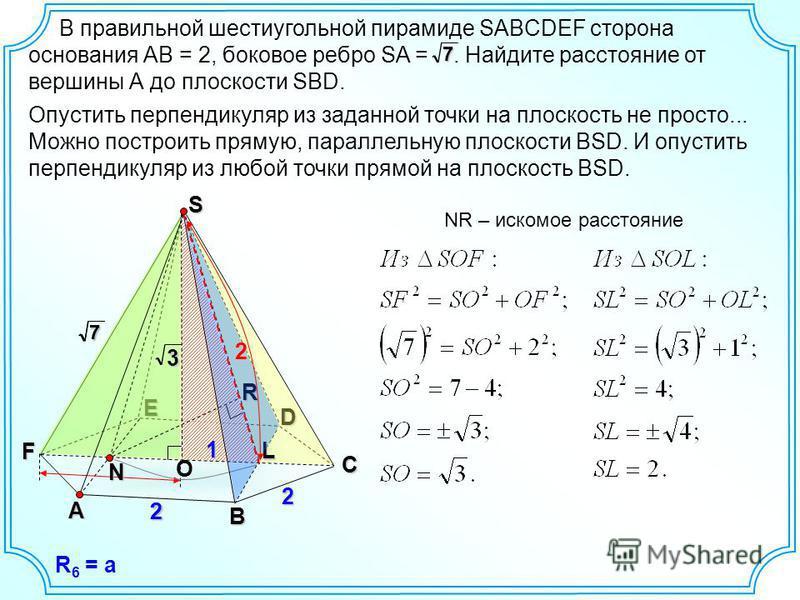 В правильной шестиугольной пирамиде SABCDEF сторона основания АВ = 2, боковое ребро SA =. Найдите расстояние от вершины А до плоскости SBD.7A B D E F 2 227 Опустить перпендикуляр из заданной точки на плоскость не просто... Можно построить прямую, пар