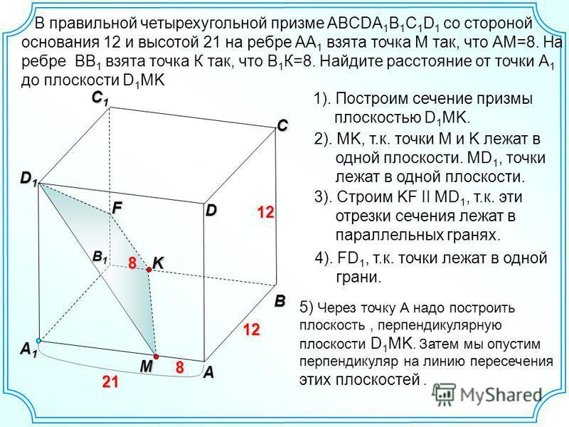 B A C C1C1C1C1 A1A1A1A1 D1D1D1D1 12 B1B1B1B1 8MD 21 21 12K8 1). Построим сечение призмы плоскостью D 1 MK. 2). MK, т.к. точки M и K лежат в одной плоскости. MD 1, точки лежат в одной плоскости. 3). Строим KF II MD 1, т.к. эти отрезки сечения лежат в