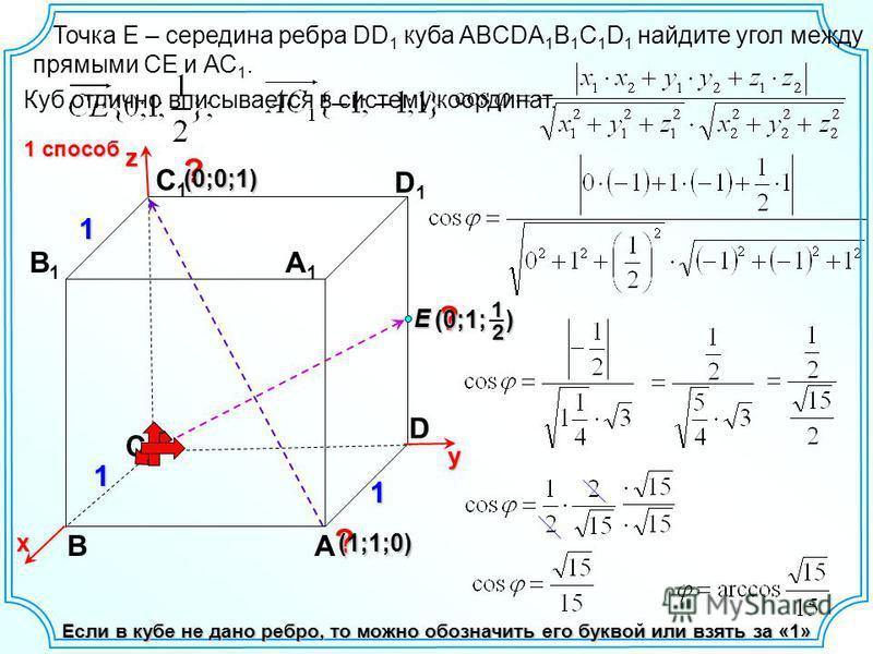 BA D B1B1 C1C1 D1D1 A1A1 Если в кубе не дано ребро, то можно обозначить его буквой или взять за «1» Куб отлично вписывается в систему координат. х yz? ? (0;0;1)(0;0;1)(0;0;1)(0;0;1) ?11 1 1 способ C (0;1; ) 12 (1;1;0) Точка Е – середина ребра DD 1 ку