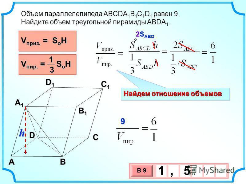 Объем параллелепипеда ABCDA 1 B 1 C 1 D 1 равен 9. Найдите объем треугольной пирамиды ABDA 1. C AB A1A1A1A1 D1D1D1D1 C1C1C1C1 B1B1B1B1 D Найдем отношение объемов V пир. = S o H 13 V приз. = S o H 3 х 1 0 х В 9 1, 5 2S ABD = h 9