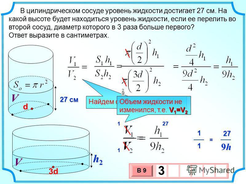 В цилиндрическом сосуде уровень жидкости достигает 27 см. На какой высоте будет находиться уровень жидкости, если ее перелить во второй сосуд, диаметр которого в 3 раза больше первого? Ответ выразите в сантиметрах. 27 27 см V 3 х 1 0 х В 9 3 h2h2h2h2