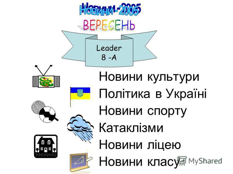 Новини культури Політика в Україні Новини спорту Катаклізми Новини ліцею Новини класу Leader 8 -A