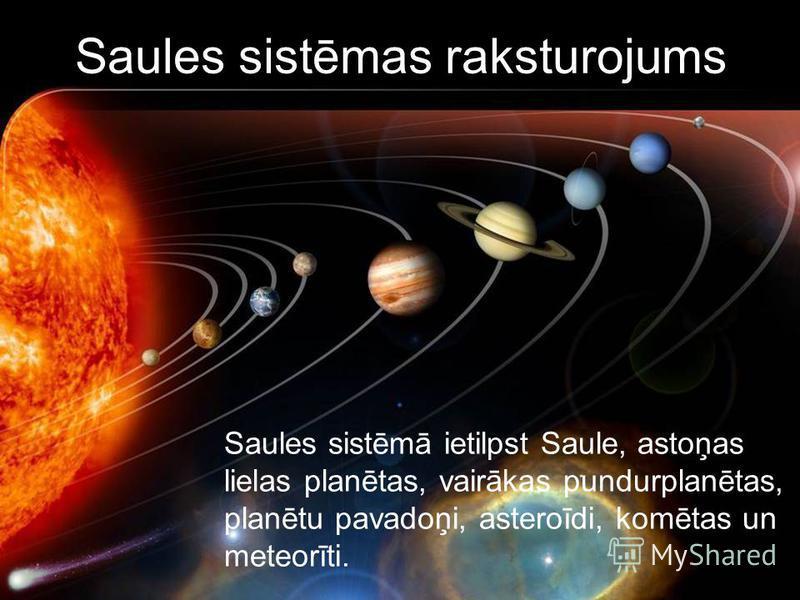 Saules sistēmas raksturojums Saules sistēmā ietilpst Saule, astoņas lielas planētas, vairākas pundurplanētas, planētu pavadoņi, asteroīdi, komētas un meteorīti.