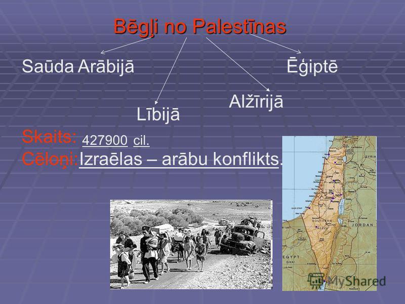 Bēgļi no Palestīnas Saūda ArābijāĒģiptē Lībijā Alžīrijā Skaits: 427900cil. Cēloņi: Izraēlas – arābu konflikts.