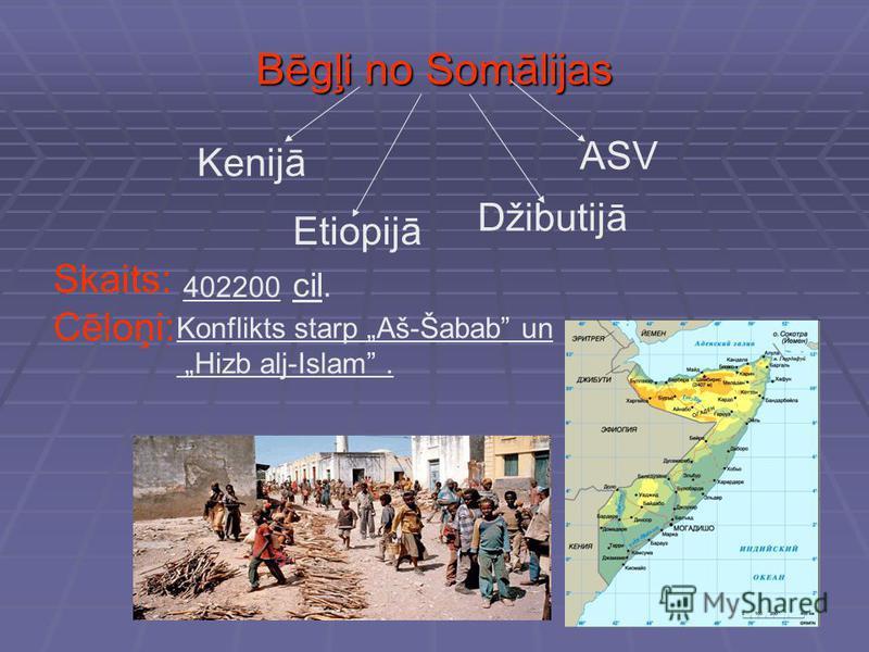 Bēgļi no Somālijas Kenijā Etiopijā Džibutijā ASV Skaits: 402200 cil. Cēloņi: Konflikts starp Aš-Šabab un Hizb alj-Islam.